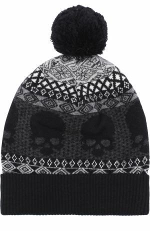Шерстяная шапка с помпоном Gemma. H. Цвет: черный