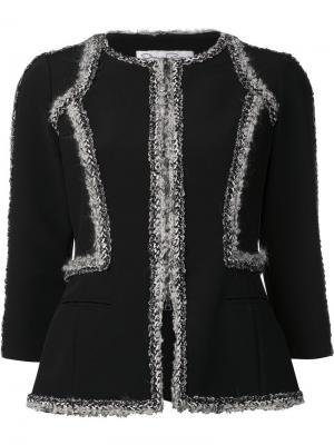 Пиджак букле с контрастной окантовкой Oscar de la Renta. Цвет: чёрный