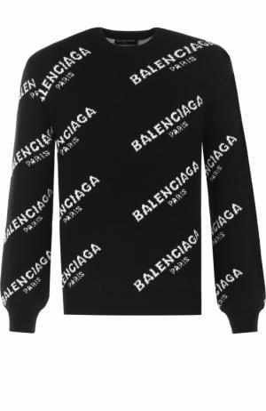 Шерстяной джемпер с контрастной отделкой Balenciaga. Цвет: черно-белый