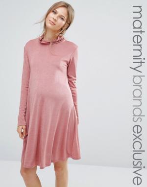Bluebelle Maternity Свободное платье для беременных с высокой горловиной Materni. Цвет: розовый