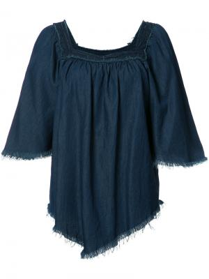Джинсовая блузка с необработанными краями NSF. Цвет: синий