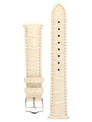 Элегантный ремешок для часов из кожи теленка с фактурой под аллигатора, Ширина от 14 до 24 мм Signature. Цвет: молочный