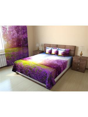 Покрывало Стеганое  215X155 Олимп Текстиль. Цвет: бледно-розовый, сиреневый