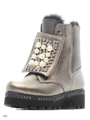 Ботинки Alsace. Цвет: серебристый