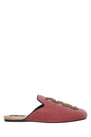 Бархатные слиперы Gucci. Цвет: розовый