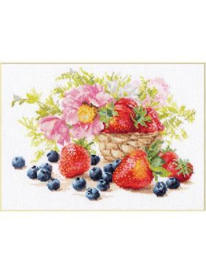 Набор для вышивания Клубника  27х19 см Алиса. Цвет: красный, розовый, салатовый, светло-коричневый, серый, темно-красный, темно-синий