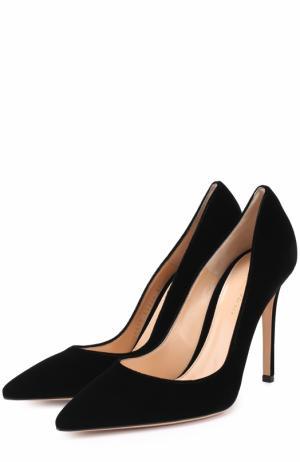 Бархатные туфли Gianvito 105 на шпильке Rossi. Цвет: черный