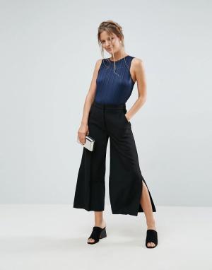 Closet London Укороченные брюки с разрезами по бокам. Цвет: черный