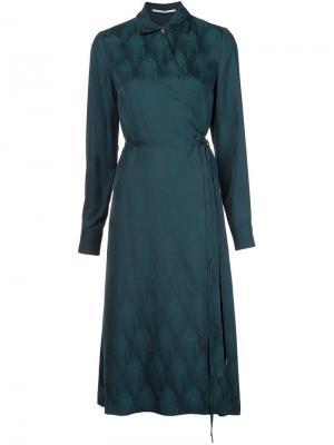 Платье-рубашка с запахом Rosetta Getty. Цвет: зелёный
