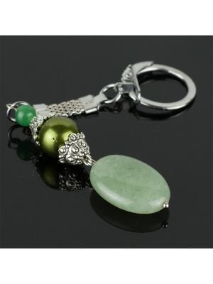 Брелок Стильная штучка нефрит, жемчуг Майорка Револю. Цвет: зеленый