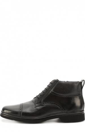 Высокие кожаные ботинки с брогированием Aldo Brue. Цвет: черный