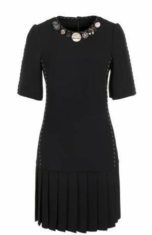 Мини-платье с юбкой в складку и коротким рукавом Dolce & Gabbana. Цвет: черный