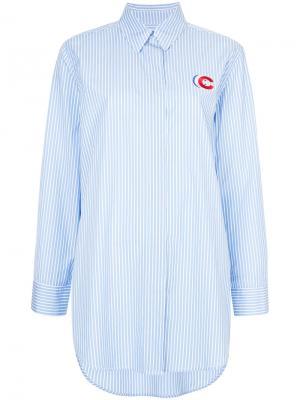 Рубашка с заплаткой в виде тройного C Être Cécile. Цвет: синий