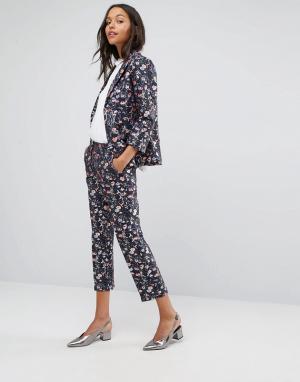Miss Selfridge Жаккардовые брюки с цветочным принтом Co-ord. Цвет: мульти