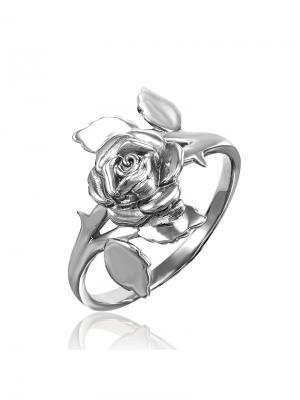 Кольцо с розой KU&KU. Цвет: серебристый