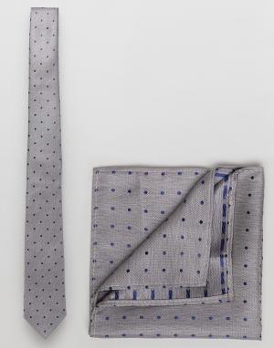 Burton Menswear Галстук и платок для нагрудного кармана серого цвета в горошек. Цвет: серый