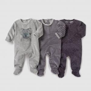 Комплект из 3 велюровых пижам 0 мес-3 лет R édition. Цвет: серый меланж + в полоску + черный