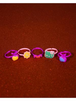 Кольцо (набор 5 шт) Bizon. Цвет: малиновый
