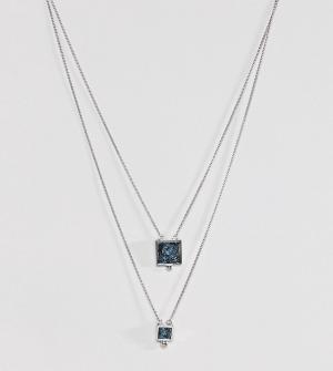 ASOS Многорядное ожерелье с камнями на основе переработанного денима. Цвет: серебряный