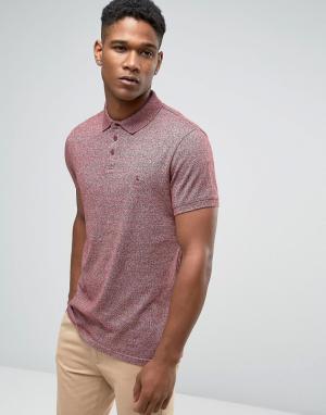 Jack Wills Черносливовая футболка‑поло из меланжевого трикотажа. Цвет: красный