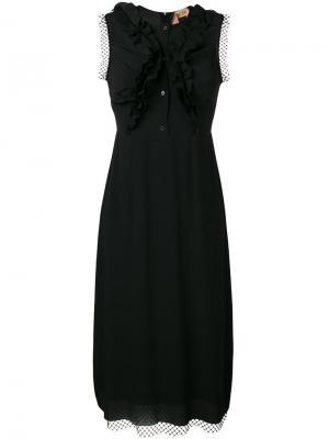 Ruffle mesh trim dress Nº21. Цвет: чёрный