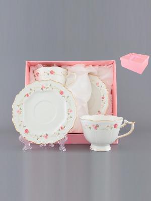 Чайная пара Нежные розы Elan Gallery. Цвет: розовый, белый
