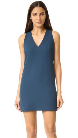 Современное свободное платье с V-образным вырезом Milly. Цвет: павлин