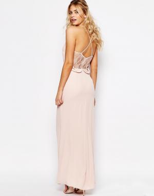 Elise Ryan Платье макси на бретельках с кружевной спинкой и удлиненным сзади подо. Цвет: розовый