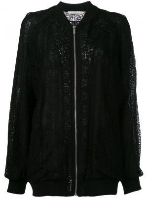 Кружевная куртка-бомбер Amen. Цвет: чёрный