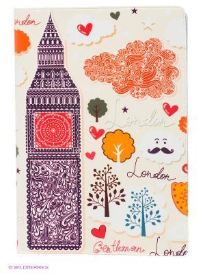 Обложка для автодокументов Влюбленный Лондон Mitya Veselkov. Цвет: светло-бежевый, красный, сливовый