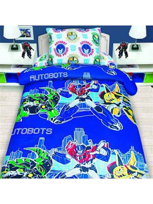 Комплект постельного белья 1,5 сп Transformers. Цвет: индиго, желтый, красный