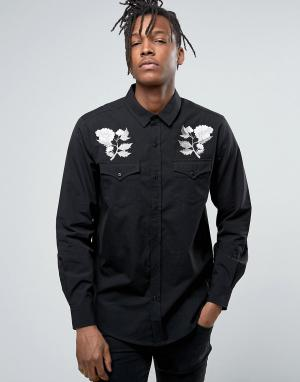 Rollas Рубашка с вышивкой роз. Цвет: черный