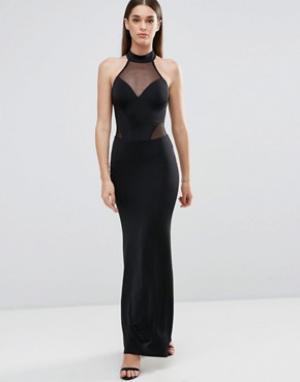 Sistaglam Платье макси с халтером и сетчатыми вставками. Цвет: черный