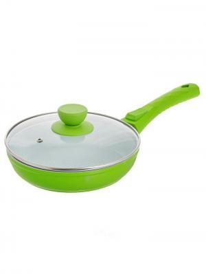 Сковорода с керамическим покрытием. Размер 22х4,6см BOHMANN. Цвет: зеленый
