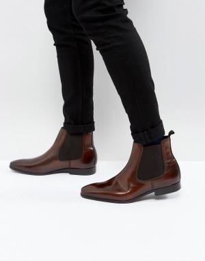 Zign Черные строгие кожаные ботинки челси. Цвет: коричневый