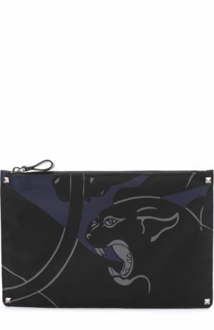 Текстильный несессер на молнии с принтом Valentino. Цвет: темно-синий