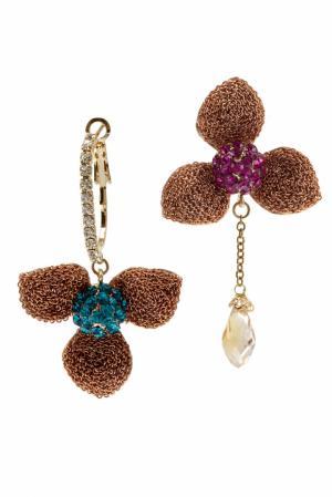 Серьги с кристаллами Herald Percy. Цвет: золотой, бирюзовый, фуксия