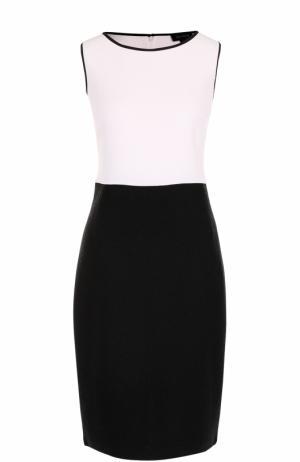 Приталенное платье-миди без рукавов St. John. Цвет: черно-белый