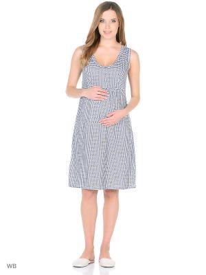 Ночная сорочка для беременных и кормления 40 недель. Цвет: темно-синий, белый