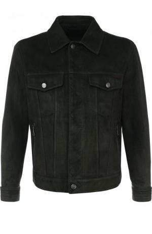 Замшевая куртка на молнии с отложным воротником Brioni. Цвет: темно-зеленый