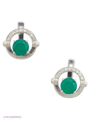 Серьги Митра Ювелир. Цвет: зеленый, серебристый, белый