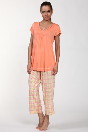 Пижама: брюки и кофта Aria. Цвет: оранжевый