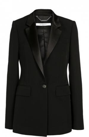 Удлиненный жакет на одной пуговице с шелковыми лацканами Givenchy. Цвет: черный