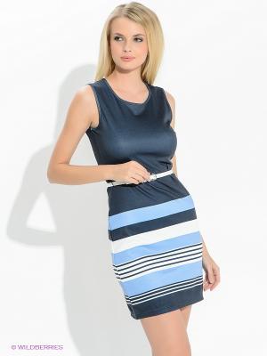 Платье Oodji. Цвет: темно-синий, голубой, белый
