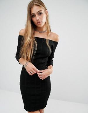 Rock & Religion Платье в рубчик с открытыми плечами Erin. Цвет: черный