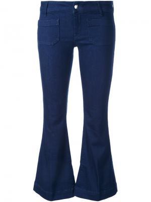 Укороченные расклешенные джинсы The Seafarer. Цвет: синий