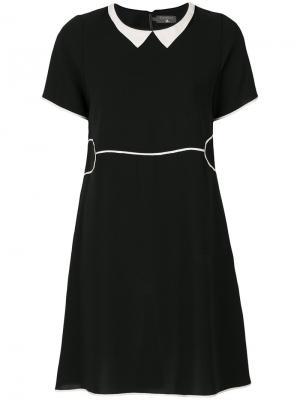Платье шифт с контрастным воротником Cotélac. Цвет: чёрный