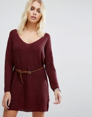 Goldie Вязаное платье-джемпер с ремнем No Other Way. Цвет: красный