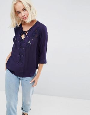 Deby Debo Блузка на шнуровке Marago. Цвет: темно-синий
