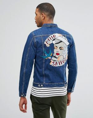 Just Junkies Джинсовая куртка с вышивкой на спине. Цвет: синий